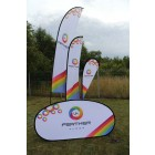 Pop Out Banner With Feather Flags