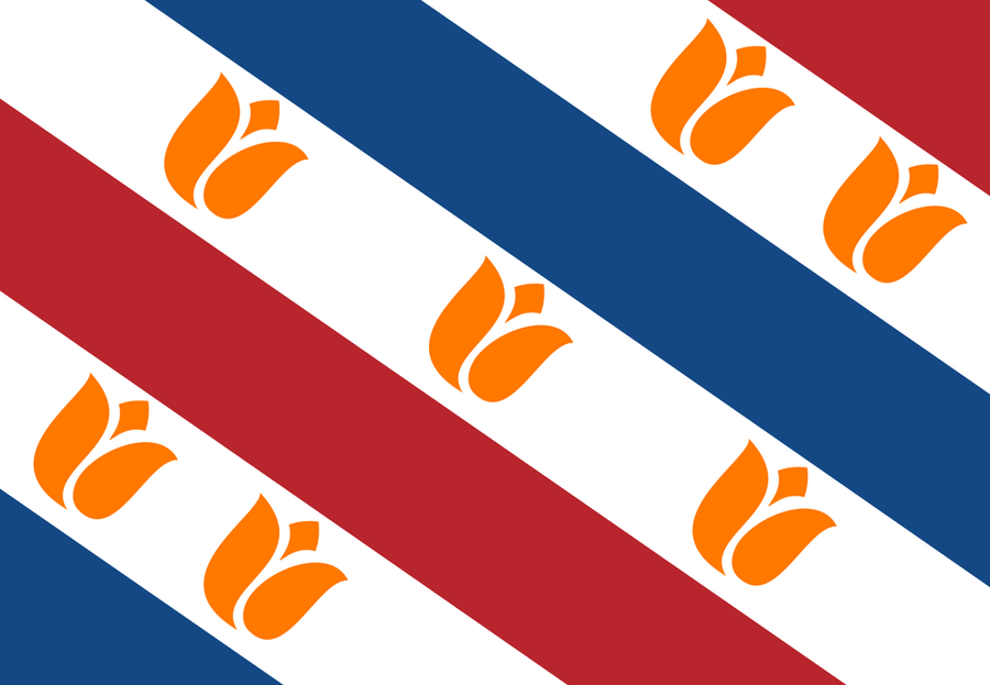 The Dutch Flag in the style of the Province of Friesland