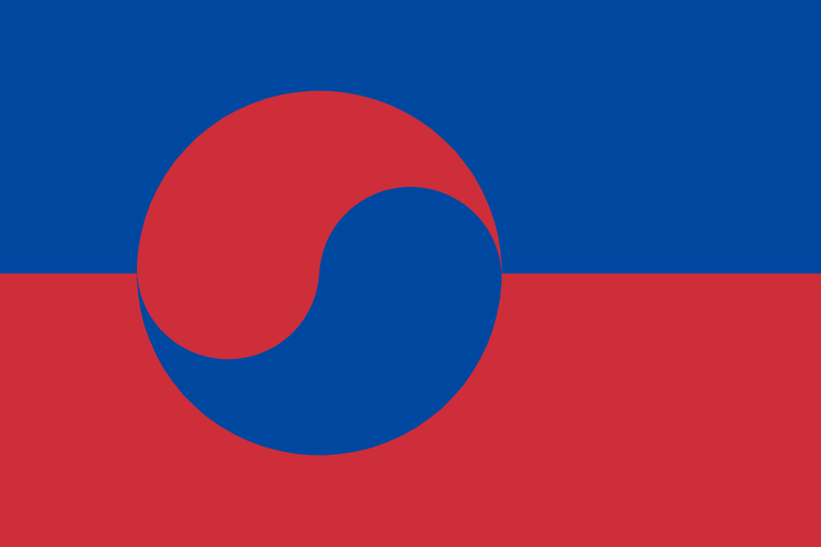 Korea Flag in the style of Greenland
